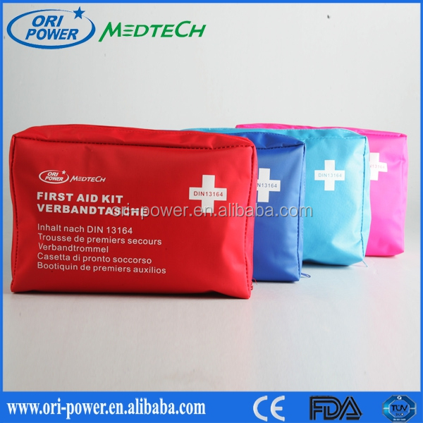 Wholesale Din13164 Germany CE FDA approved oem promotional wholesale auto nylon wilderness first aid kits