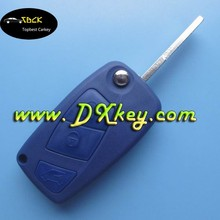 Key blanks wholesale for 3 button Fiat flip key shell blue SIP22 key blade with tailgate button backside with battery door