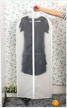 A plastic hanging clothes rack laundry dress suit cover garment bag