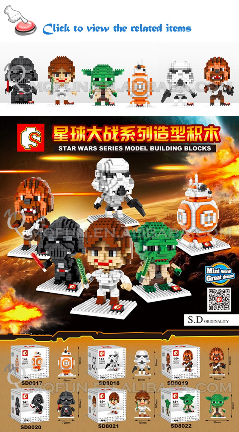 Mini Qute Sembo Kawaii Star War Stormtrooper yoda Darth Vader plastic Cartoon movie building blocks brick model educational toy