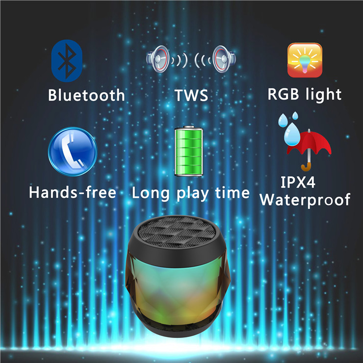 LED Bluetooth Speaker TWS(True Wireless Stereo) IPX4 Waterproof Outdoor Portable Speaker