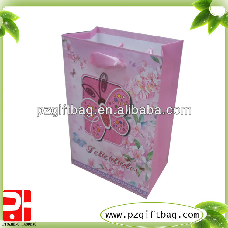 baseball gift paper bag,paper bag with window,pink paper bag