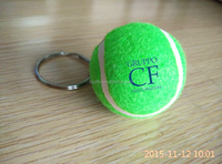 wholesale promotion tennis ball key ring with custom logo printed