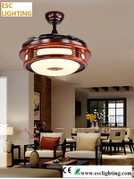 42''Modern White Round Shaped Led Ceiling Fan, Foldable Blades