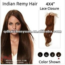 100% human 4*4india remy hair silk lace top closure