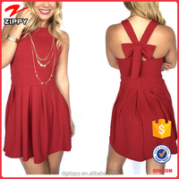Cross Bow Ross Dress in Red Models Casual Dress for Girls Wholesale Clothing