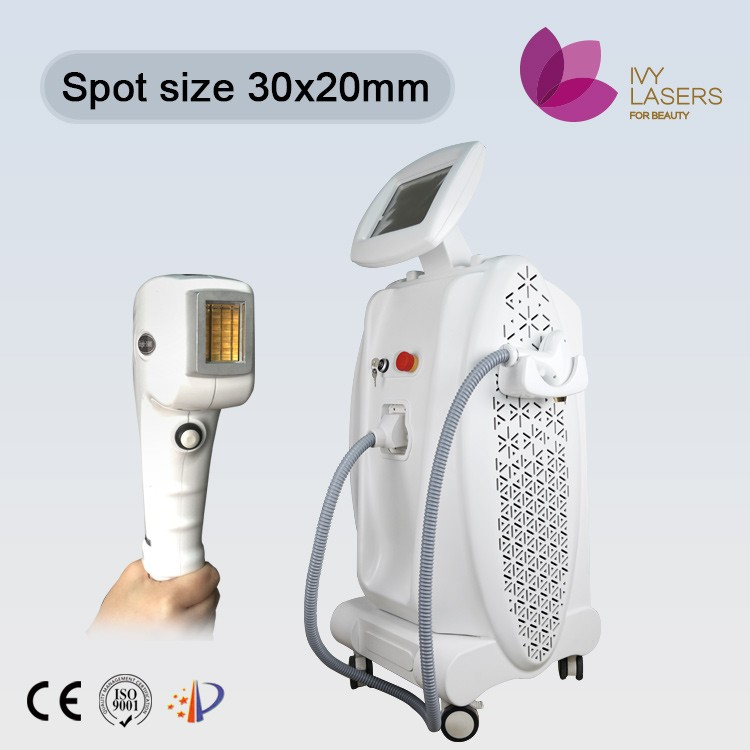 larger spot 808 diode laser for hair removal/bar imported from germany/better than elos or roll-on wax cartridges