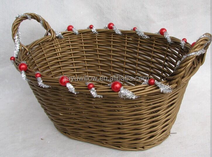 Handmade Swill Basket : Handmade oval wicker christmas gift basket empty
