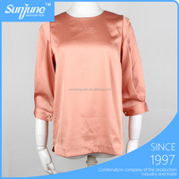 High quality 3/4 sleeve fashion chiffon lady top designer