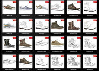COLLECTION OF MAN SHOE DRAWINGS designer of shoes and sole
