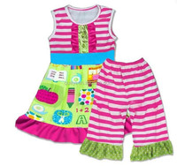 wholesale children's boutique clothing girls back to school outfits stripe pant baby girl ruffle sets