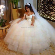 2016 New Style White Ball Gown Wedding Dresses Off The Shoulder Short Sleeve Bridal Gowns Organza & Tulle Wedding Dress