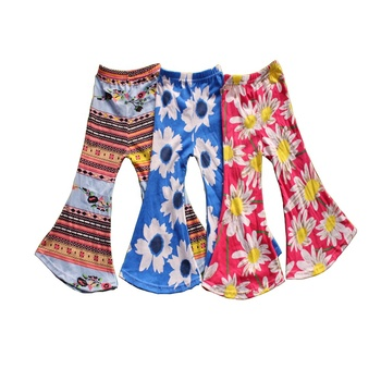 Customer Welcome Floral Printing Children's Clothes Wholesale Kids Bell Bottoms Fashion Girls Flower Printed Pants