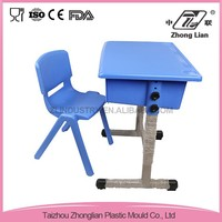Plastic adjustable height student classroom single desk and chair