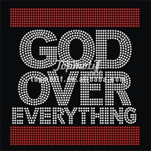 Religious Rhinestone Heat Transfer Letters Iron On God Over Everything Transfer
