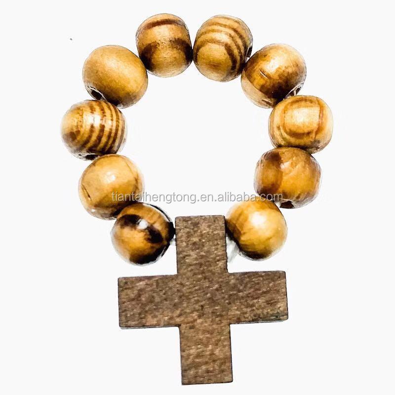7mm elastic round faux olive wood beads finger ring catholic finger rosary rings