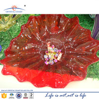 large hand blown red clear holiday home decorative glass plate