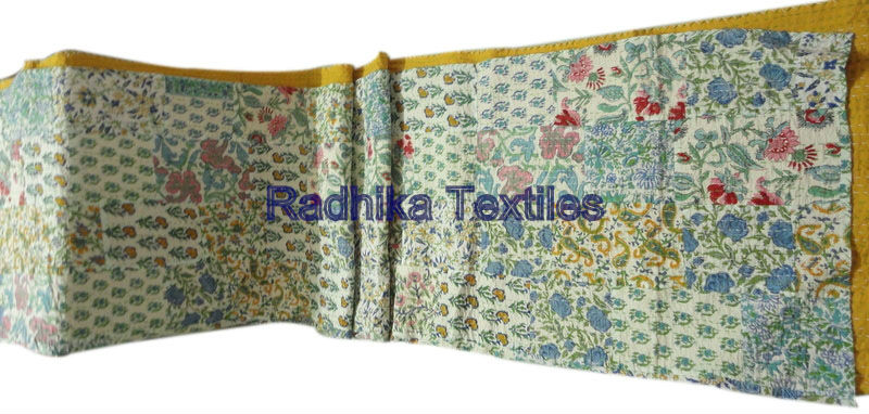 Traditional Throw Handmade Old Patchwork Kantha Gudri Pure 100% Cotton Fabric Bedspread Indian Textile Wholesaler RTAH-02 Jaipur