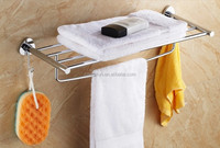 hotel style bathroom wall mounted towel display rack, foldable metal towel rack