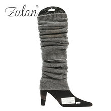 Factory High Quality New Stock Available Girls Acrylic Solid Color Women Knee-high Boot Cuffs
