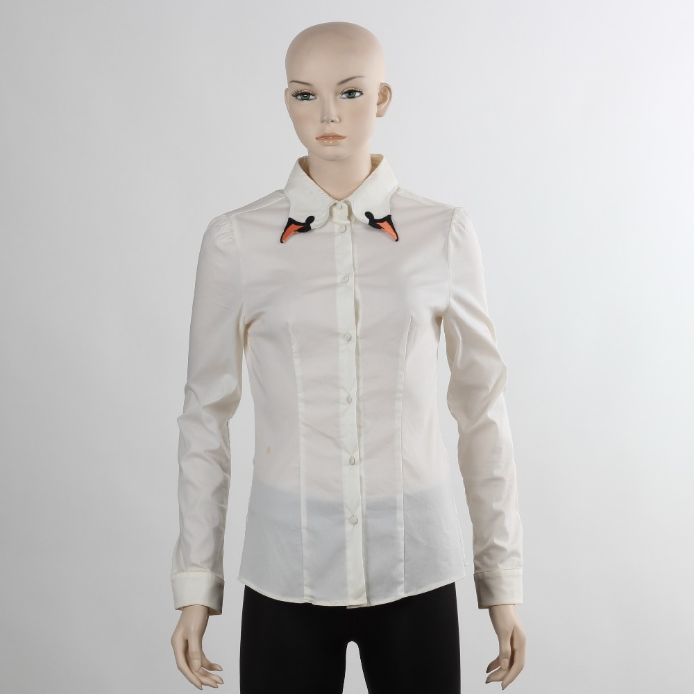 F5w11009 wholesale plain white blouse ladies fashion long Cheap plain white shirts