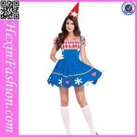 China Factory 3PCS Blue Halloween Adult Clown Costume