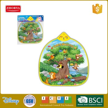 Educational Play mats with audio available in spanish and portuguese language animals on the tree musical play mat with lights
