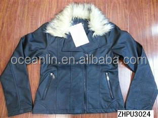 2014 fashion pu leather jacket for woman, leather stock