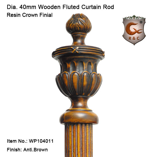 40mm Reeded antique brown gold wood window pole