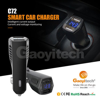 2017 OEM product dual USB car charger with display mobile phone charger