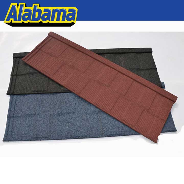 Soncap certificate shingle tile, natural stone chip coated metal roof tiles
