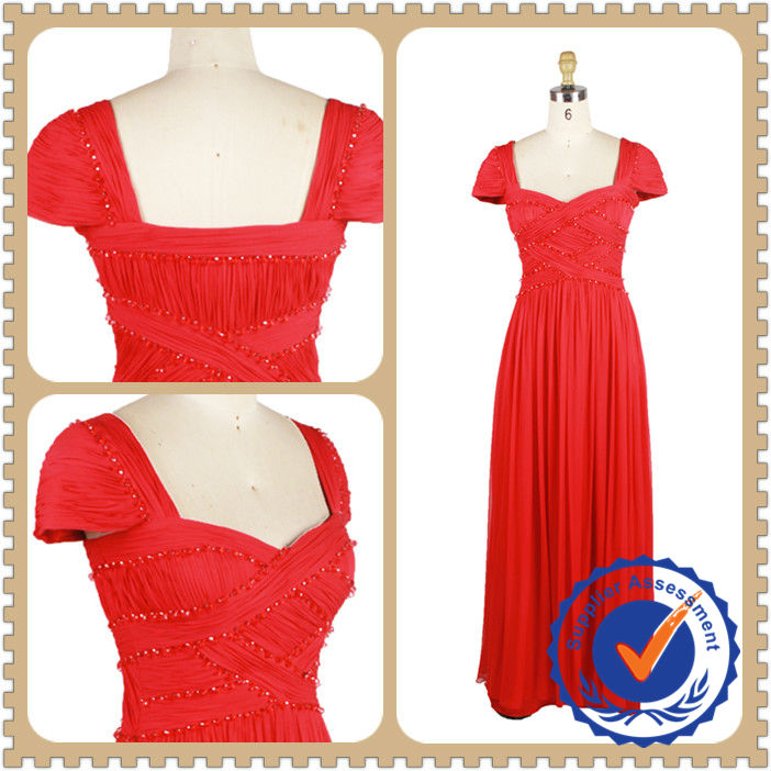 Red conservative style chiffon beaded dress with short sleeves