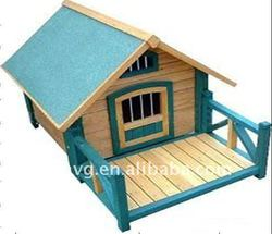 European Style Blue Wooden Dog House