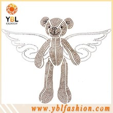Hot Fix Grade C Rhinestone Wings Iron on Stud Bear Motif