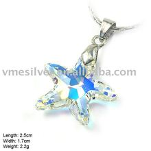 925 Silver Starfish Pendant with Crystal (PCA-0951)