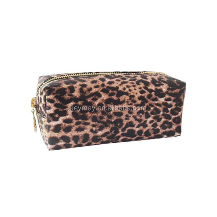 Leopard print pu travel toiletry cosmetic bag wholesale
