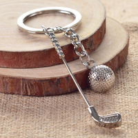 Popular metal keychains with zinc alloy golf balls and club
