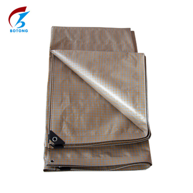 High quality China pe tarpaulin factory direct sale silver yellow squares color plastic canvas for cargo cover/truck/car cover