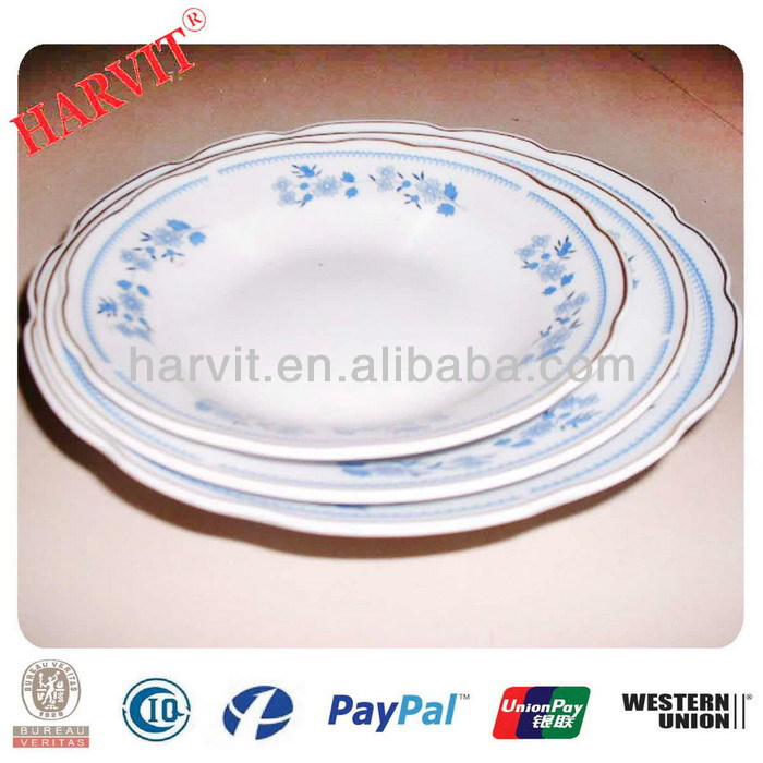 Shangdong Cheap Porcelain Cut Edge 5'' 6'' 7'' 8'' 9'' Soup Plates With 3 Flowers & Gold Rim Trim Silver Rim Yellow Line