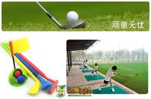 rubber foam golf toy kids safety toy golf toy set 3 gold club 2 ball 1 flag 1 cup