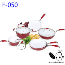 Ningbo aluminum forged 9pcs white ceramic coating nonstick induction kitchen ware set