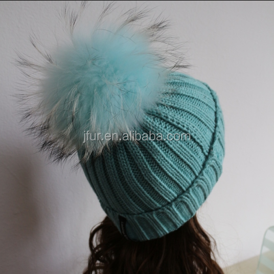 Janefur New Design Matching Color Raccoon Fur Bobble Knitted Beanies Hats