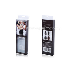 Luxury Hanger Hole Black Hair Extension Packaging Gift Plastic Box With see-through PVC Window for Hair Weave Packaging