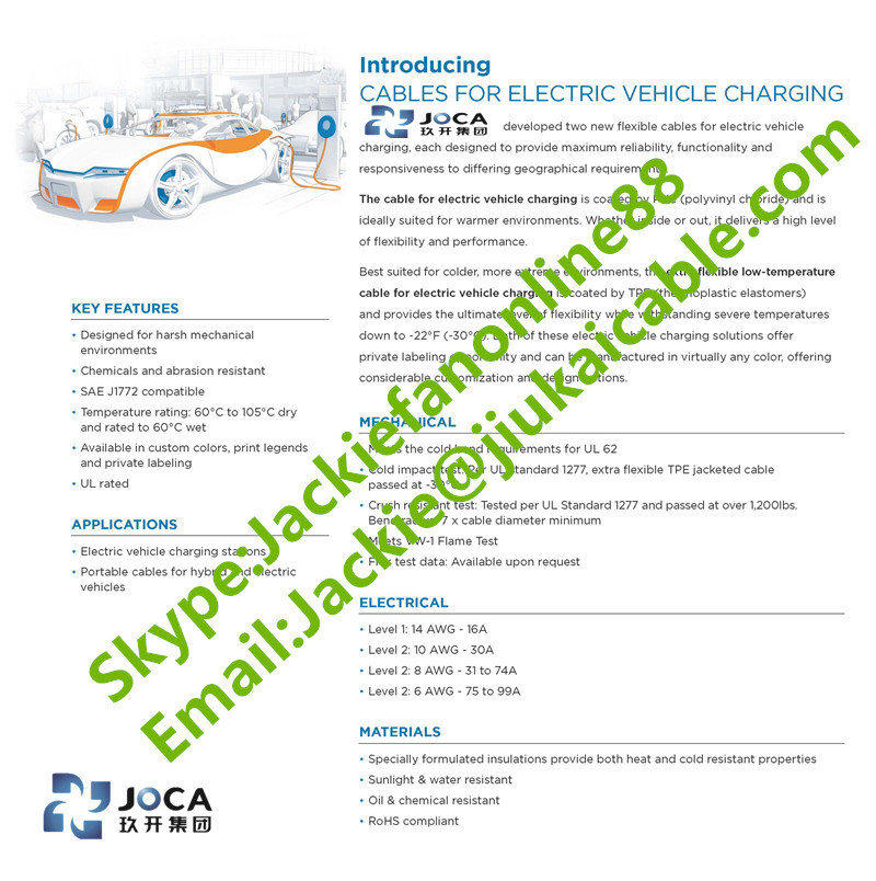 IEC European standards type 2 5x6mm2 electric vehicle charging cable ...
