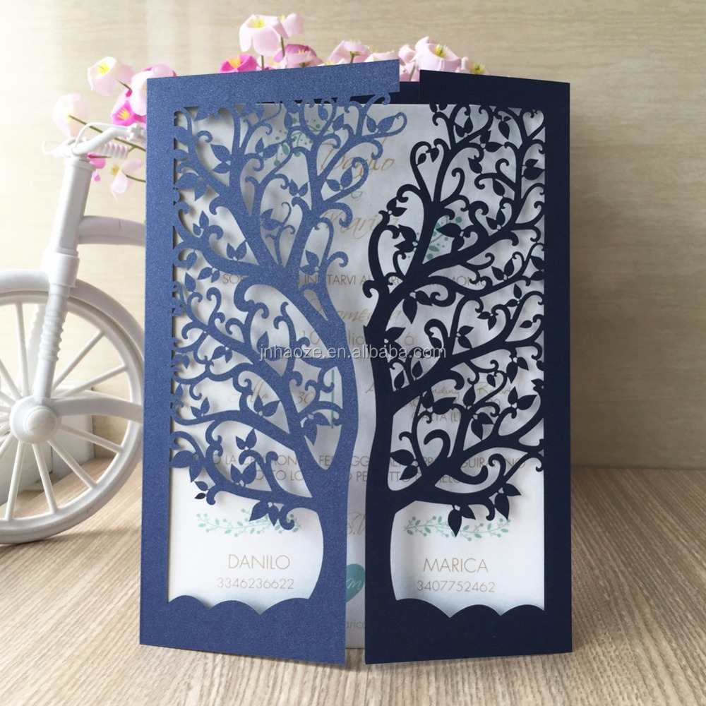 Pearl Paper Material Laser Cut and Middle East Regional Feature Europe Style wedding invitation card hot selling tree styles