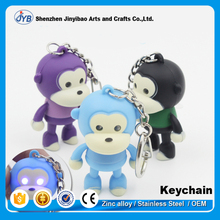 cheap wholesale hard pvc monkey shape led sound key chain