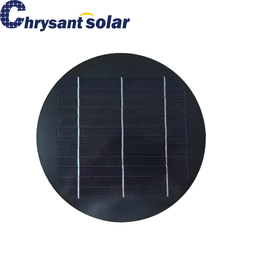 3.3W 6V Small Solar Round Monocrystalline Silicon Cell Panel for Garden Light