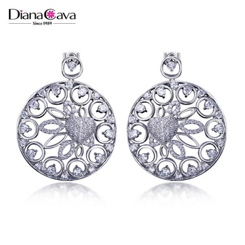 Big Size Round Hollow Pendant Earrings Drop Luxury Bridal Jewellery Zircon Earrings