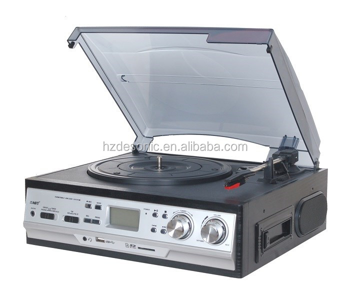 usb turntable record cassette radio lp vinyl player with dust cover
