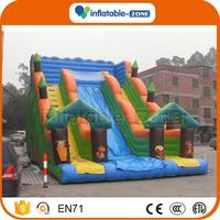 10 years factory theme print green jungle themed inflatable slide dragon inflatable castle slide combo